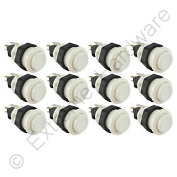 12 X Suzo Happ Ultimate 28mm Rond Arcade Boutons And Micro-interrupteurs Blanc -