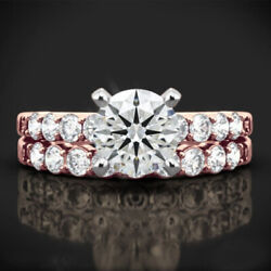 Solid 14k Rose Gold Round Cut 1.10 Ct Real Diamond Wedding Band Set Size 6 7 8 9