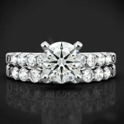 Round Cut 1.10 Ct Real Diamond Engagement Band Set 14k White Gold Size Selective
