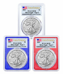 3pc 2021 American 1 Oz Silver Eagle Type 2 Pcgs Ms70 Fs Red White And Blue Frames