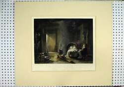 Old Antique Print Highland Cottage Baby Sleeping C1860 Log Fire Coloured 19th