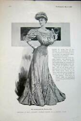 Old Antique Print 1906 Evening Gown Princess Ena Womens Fashion Dresses 20th