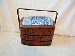 Vintage Japanese Lacquer 2 Tiered Bento Box With Handleandnbspblue Porcelain Lid