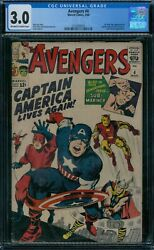 Avengers 4 Cgc 3.0 1st Silver Age Captain America Ow/w Pages