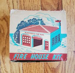 Vintage Plasticville Usa Fire House Kit With Box Oands Gauge Scale Fh-4