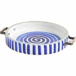13 Blue And White Ceramic With Wood And Metal Handles Round Tray