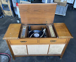 Vintage Sears Console Silvertone Stereo Radio Turntable 2075 Works Sounds Good