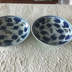 Pair Of Blue And White Dishes White With Underglaze Copper Red Bats Among Cloud