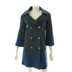 Authentic 11b Coco Mark Wool Double Face Bicolor Coat P46964 Green Blue
