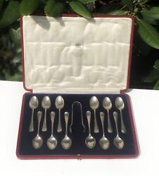 Antique Solid Silver Sterling Silver Hallmarked Set Of 12 Sugar Tong Spoon Set