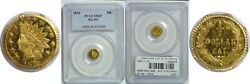 1876 Fifty Cent California Fractional Gold Pcgs Ms-65 Bg-951