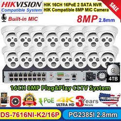 4k Hikvision Compatible 16ch Security Camera System 8mp Ir Mic Poe Ip Camera Lot