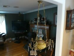 Rare Antique Hanging Brass And Majolica Kerosene And Candle Lamp