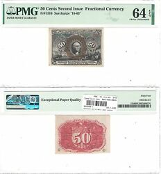 2nd Issue 50 Cents Fractional Currency Fr 1316 Pmg Choice Uncirculated-64 Epq