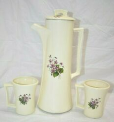 Vintage Retro Arnels Pottery Tall Floral Pitcher W/lid And 2 Coffee Tea Mugs