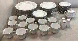 65pc Set Of Noritake Marywood Pattern 2181 Dinner Plates Luncheon Plates Cups