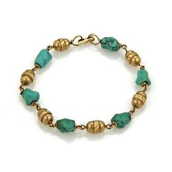 Vintage And Co. 18k Yellow Gold Turquoise Nugget And Tube Link Bracelet