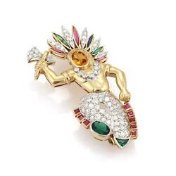 Estate 1.45ct Diamond And Gems Platinum 18k Yellow Gold Native Indian Brooch
