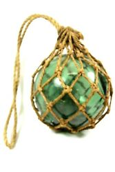 Antique Japanese Green Blown Glass 17 Circ. Netted Fishing Buoy Float