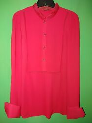 3566 Elie Tahari Small S Red Pullover Silk Blouse Long Sleeve Relaxed Fit