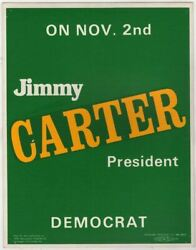 Jimmy Carter For President Vintage Presidential Campaign Poster Sign 1976