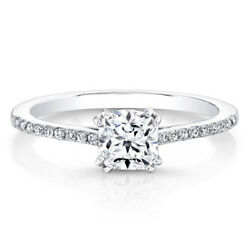Solid 14k White Gold Cushion Cut 0.59 Ct Real Diamond Wedding Ring Size 6 7 8 9