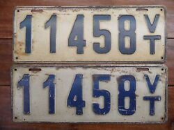 Rare Pair Very Nice 1917 Vermont License Plates 11458 No Rust Or Extra Holes