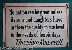 Theodore Roosevelt Americana Great Nation Heroism Quote Wwi Homefront Poster