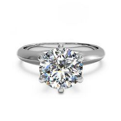 14k Blanc Solide Or Rond Coupe 0.40 Ct Naturel Fianandccedilailles Diamant Ring Taille 6