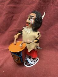 Rare Vtg Marx Tin Litho Nutty Mad Indian Drummer Wind Up Toy-works
