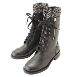 Authentic Coco Mark Leather Tweed Lace-up Boots G27911 Black White 36