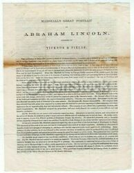 Abraham Lincoln William Marshall Portrait Ticknor And Fields Advertising Broadside