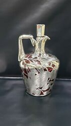 Antique Art Nouveau Sterling Silver Overlay And Ruby Red Glass Decanter 8.5