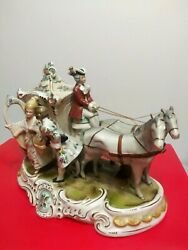 Antique Grafenthal Porcelain Horse And Carriage With Courting Couple-germany-19436