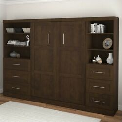 Atlin Designs 120 Full Wall Bed With 2 Piece 6-drawer Storage Unit In Chocolate
