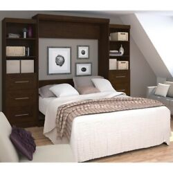 Atlin Designs 115 Queen Wall Bed With Storage And 3 Drawer Set In Chocolate