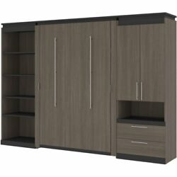 Atlin Designs 118 Full Murphy Bed With Multifunctional Storage In Bark Gray