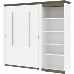 Atlin Designs 89 Full Murphy Bed With Bookcase In White