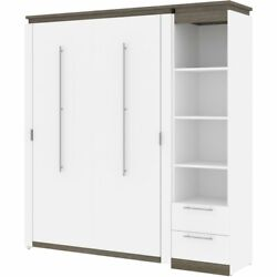Atlin Designs 79 Full Murphy Bed And Narrow Bookcase With Drawers In White