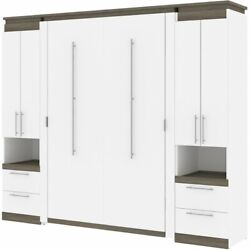 Atlin Designs 98 Full Murphy Bed With 2 Storage Cabinets In White