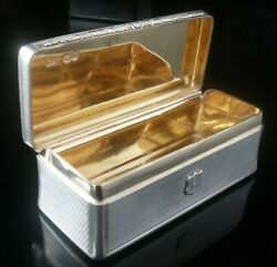 Large Antique Sterling Silver Tabletop Snuff Box, Edward Edwards Ii 1838