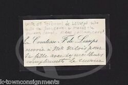 Mrs Ferdinand De Lesseps Suez Canal French Diplomatandrsquos Wife Signed Calling Card