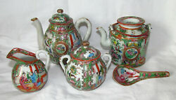 Chinese Qing Dynasty Famille Rose Medallion Teapots Sugar Creamer 1850 Andndash 1915