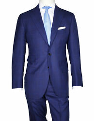 Cesare Attolini Suit In Blue With Brown Glencheckmuster From Super 130and039s Wool