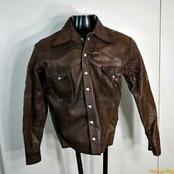 East West Musical Instruments Vtg 70s Leather Cropped Jacket Mens Size M Brown