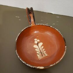 Mexican Red Clay Pottery Bowl W/ Handle Terracotta Vintage Hand-painted Glazed