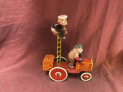 Rare Vintage Marx Popeye And Bluto Funny Fire Fighters Tin Litho Celluloid