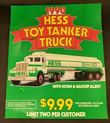 Hess Toy Tanker Truck Gas Station Store Sign Vintage Ad Display Poster 1990