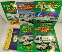 6 Hess Toy Truck Gas Station Store Sign Vintage Promo Ad Display Sale Poster Lot