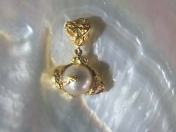 Australian Gold Nugget Jewellery 11.5 Mm South Sea Pearlandnbsp Total Weight 14.4 Grs